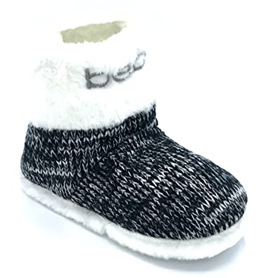 Amazon Bebe Toddler Knit Slipper Boots With Emroidery Fur