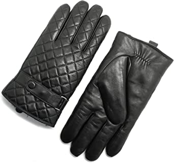 Noir gants cuir chaud veritable femme avec agneau doublés pour grand froid hiver