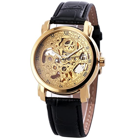 Winner mujeres moda elegante vestido mecánica reloj de pulsera correa de cuero número romano Dial ahuecado