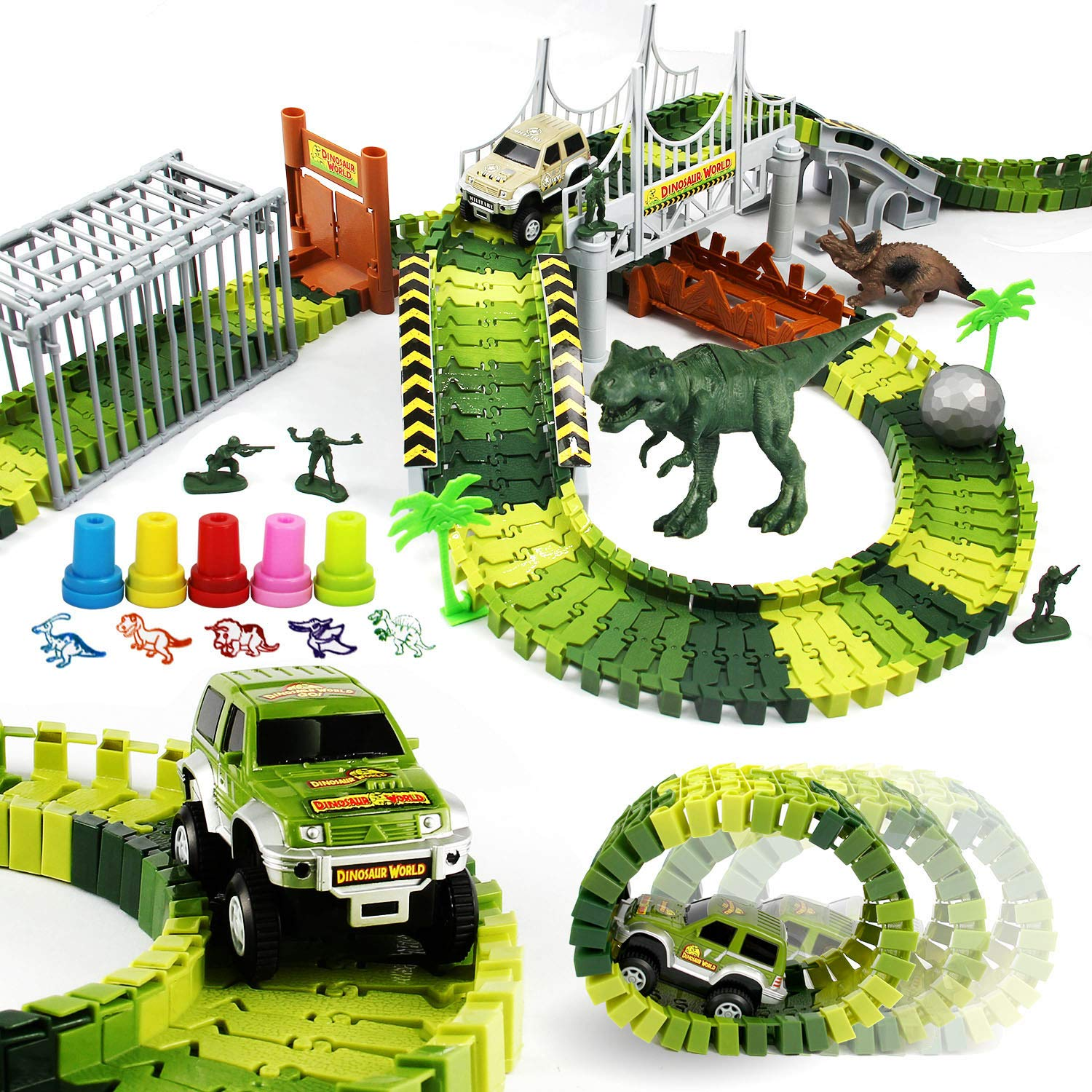 ROSYKIDZ Dinosaur Toys Building Tracks, [175 Pcs Toy Set] Slot Car Race Track Includes 2 Vehicle & 2 Dinosaurs & 10 Stamps for Kids 3 4 5 6 7 8 Years Old Boys Girls Gifts by ROSYKIDZ