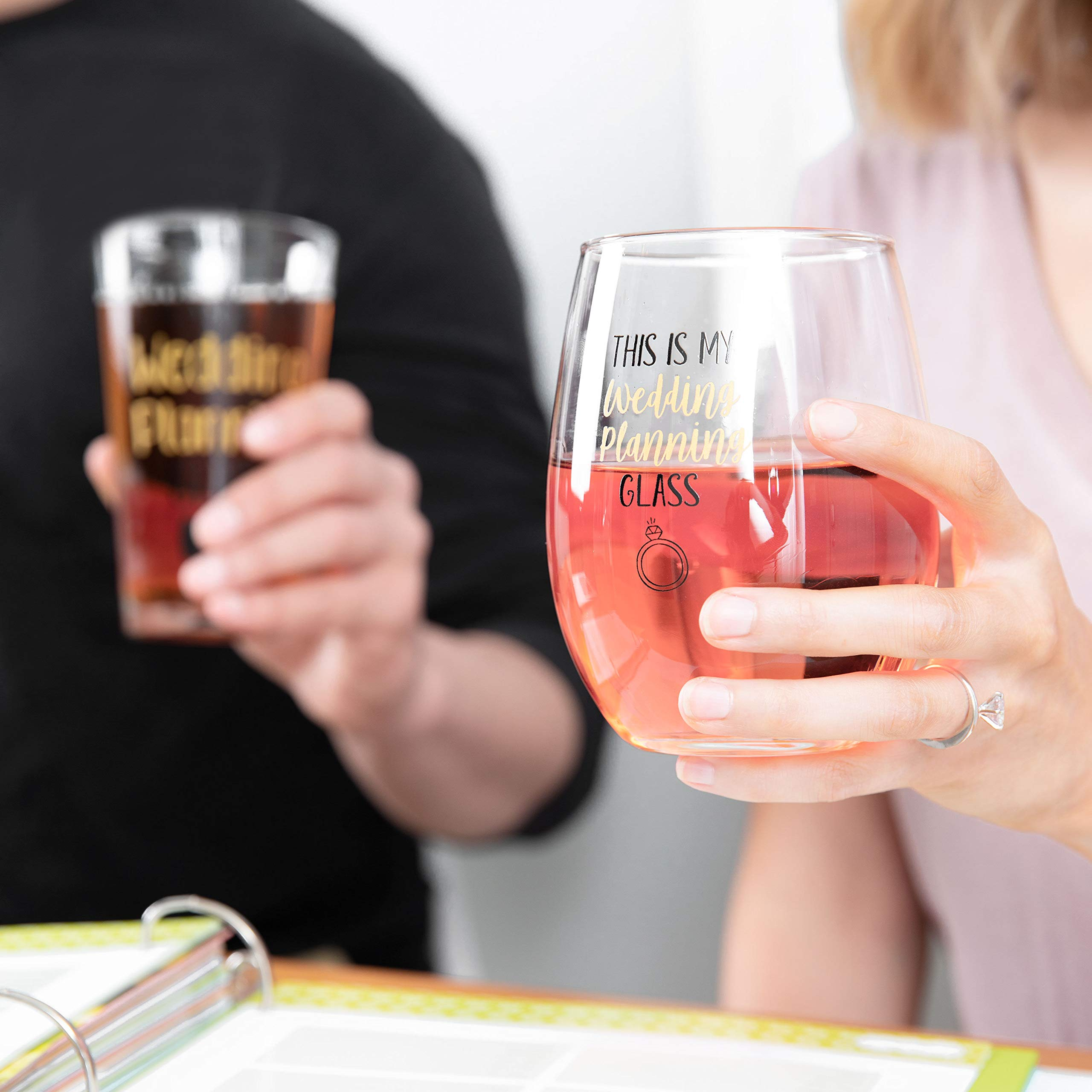 This Is My Wedding Planning Glass Set - Engagement Gift Set for the Couple - Mr & Mrs Gift - Bride and Groom To Be - 16 oz. Pint Glass, 21 oz. Wine Glass (Set of 2) by Gelid (Image #4)