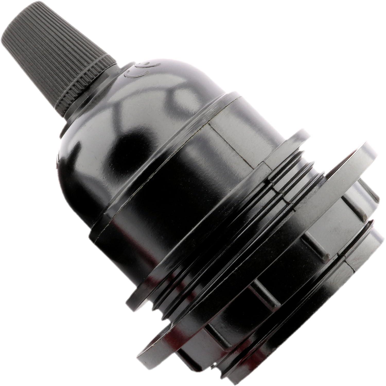 Art Deco Emporium Bulb Holder E27 Black Period Shape Lamp Pendant With Shade Ring LHE27-R01-BLK