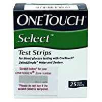 OneTouch Select Test Strips 25 Count, (Multicolor)