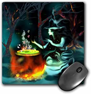 3Drose LLC 8 X 8 X 0.25 Inches Mouse Pad, Ghost Witch with Mysterious Glowing Eyes Cooks Up a Spooky Brew in the Dark Misty Woods. (Mp_127912_1)