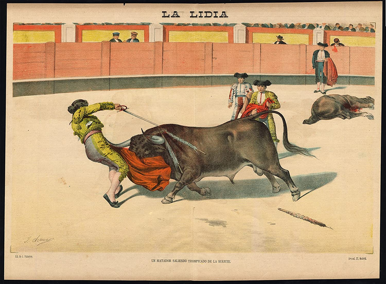 Impresión antigua - Las corridas de toros-tauromachia-arena-españa-torero - PL. 25 de la Lidia-1887: Amazon.es: Hogar