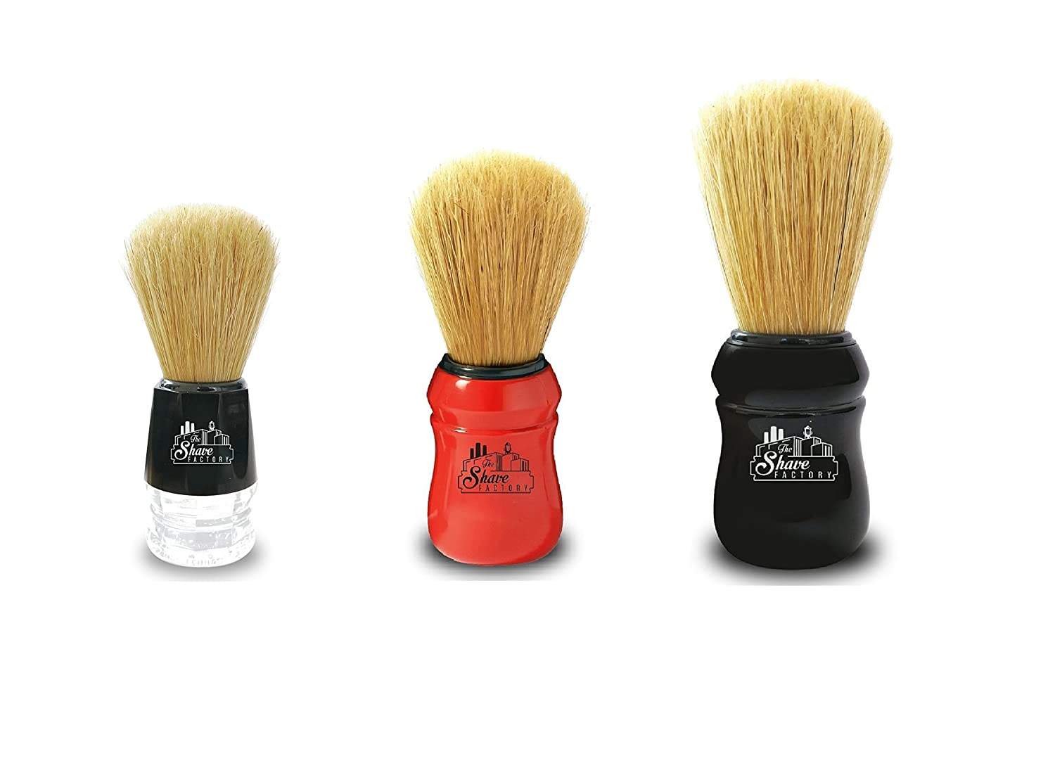 3 The Shave Factory Shaving Brushes (Large Black - Medium Red - Small Black )