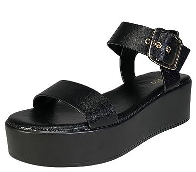 09e2ec1ff0e BAMBOO Women s Single Band Platform Footbed Sandal with Quarter Strap