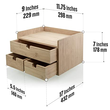 Prosumer's Choice Bamboo Desk Organizer with 3 Drawers for Office Supplies, on