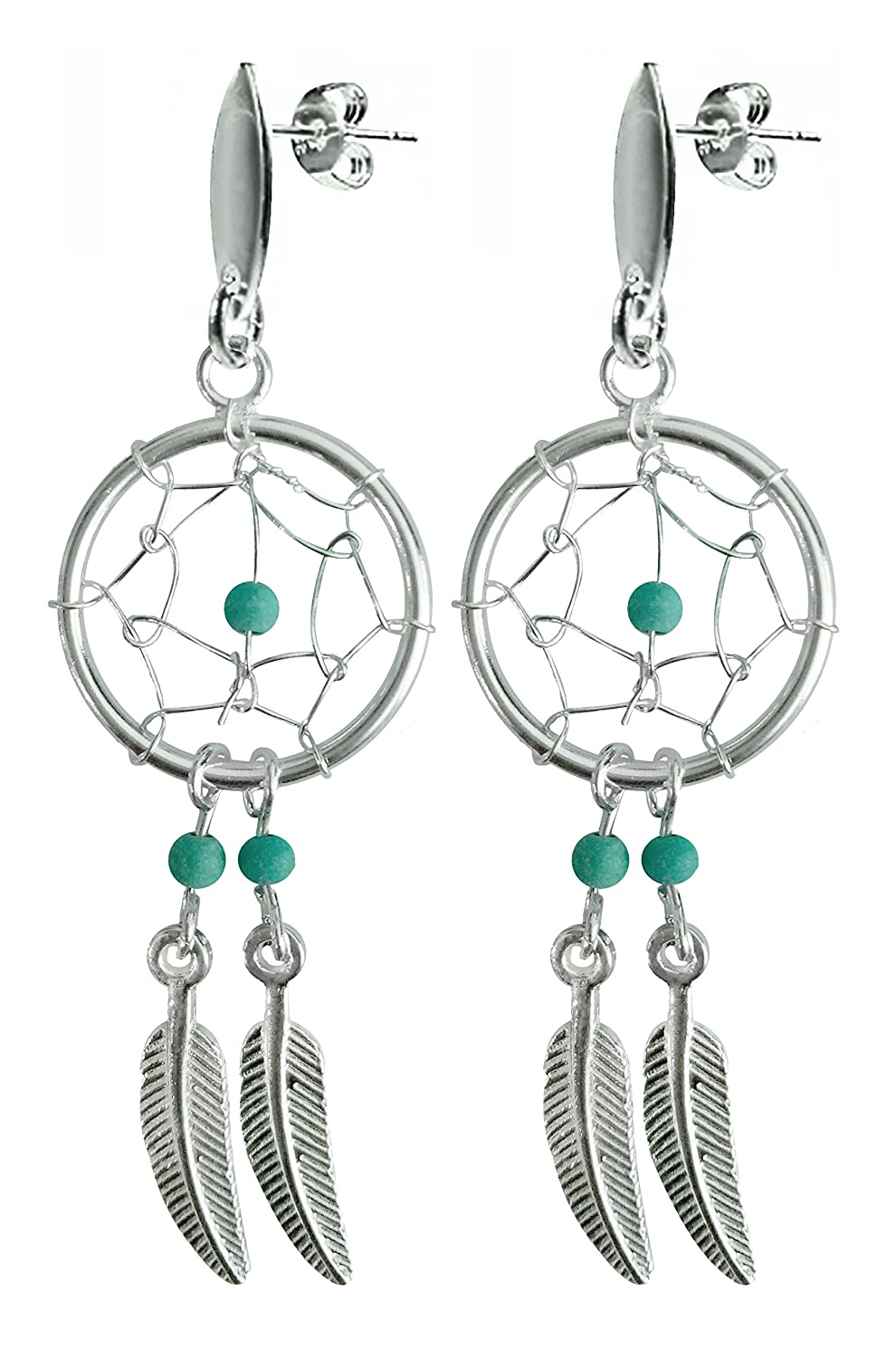 Silver Dreamcatcher stud earrings with genuine stone