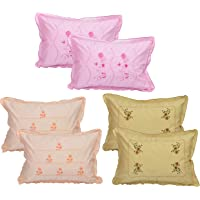 Rj Products® Cotton Embroided Multi Color Pillow Cover (Set of 6) Flower Leaf Pattern by shreekrishna Traders