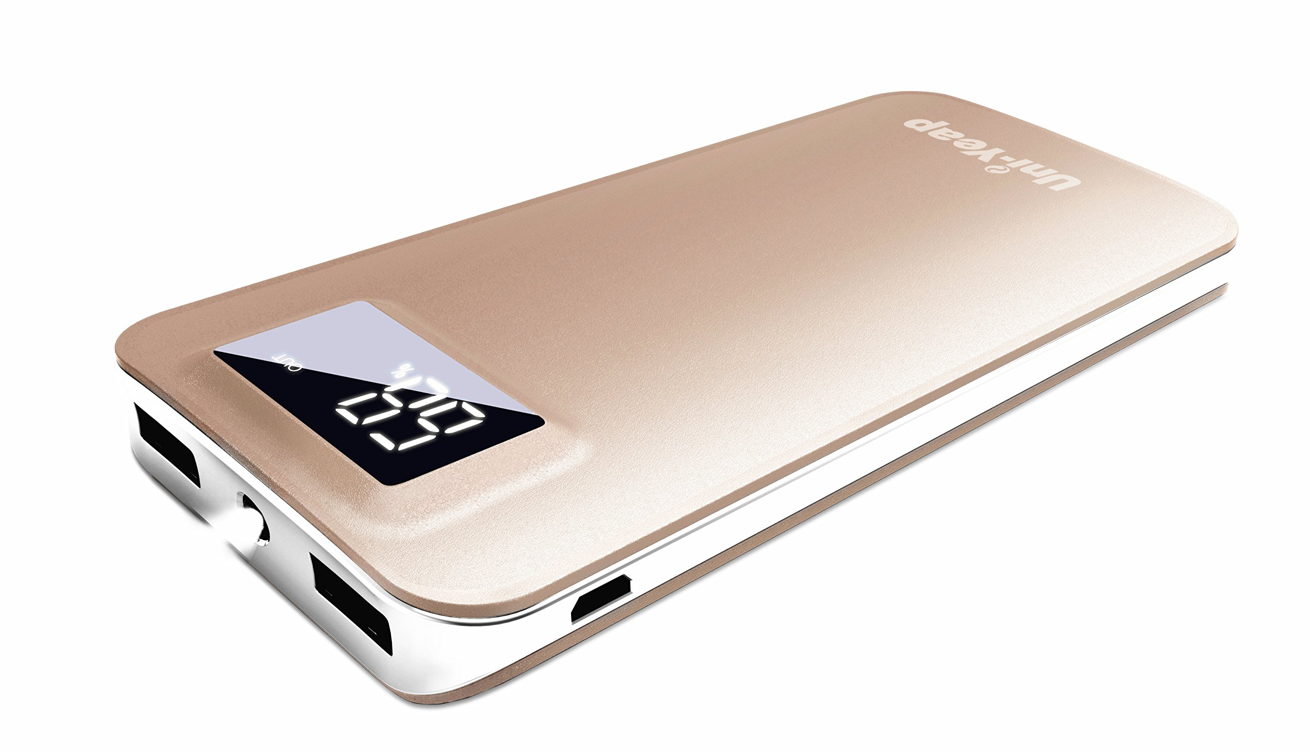 Uni-Yeap [Upgraded] 11000mAh External Battery Charger Power Bank with Safety Charging Conversion System and Ultra Slim with Screen for iPhoneX 8 7 6s 6, iPad, Samsung Galaxy and All Smart Phone(Gold)