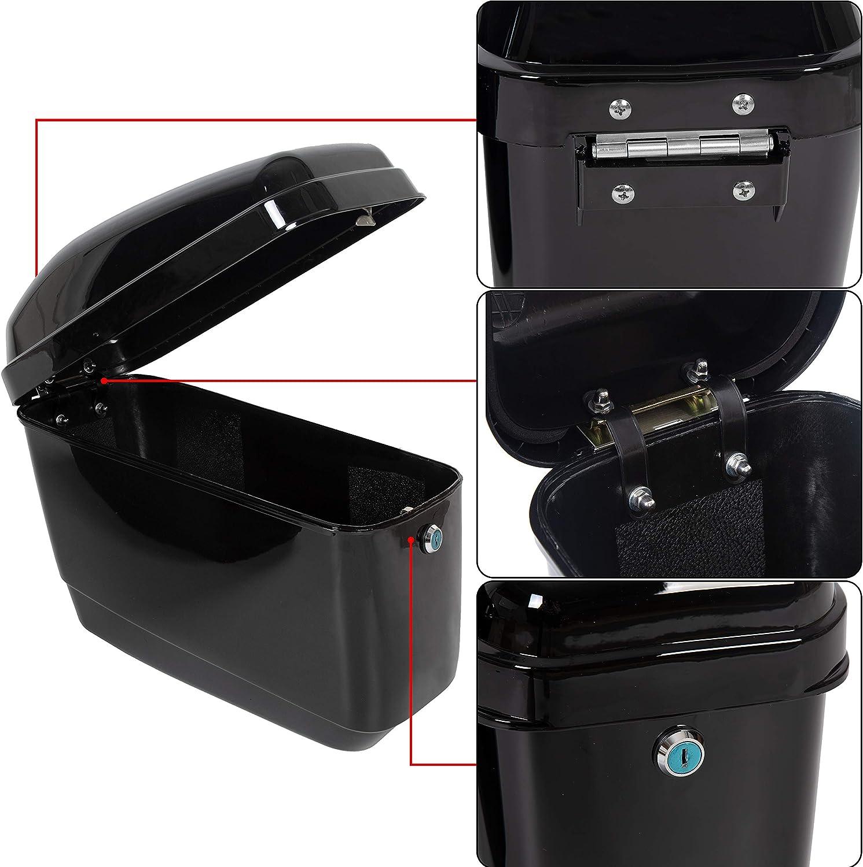 Black Motorcycle Hard Saddlebags Trunk Saddle Bags W//Mounting bracket Compatible With Yamaha Honda Shadow Kawasaki Vulcan VN Black