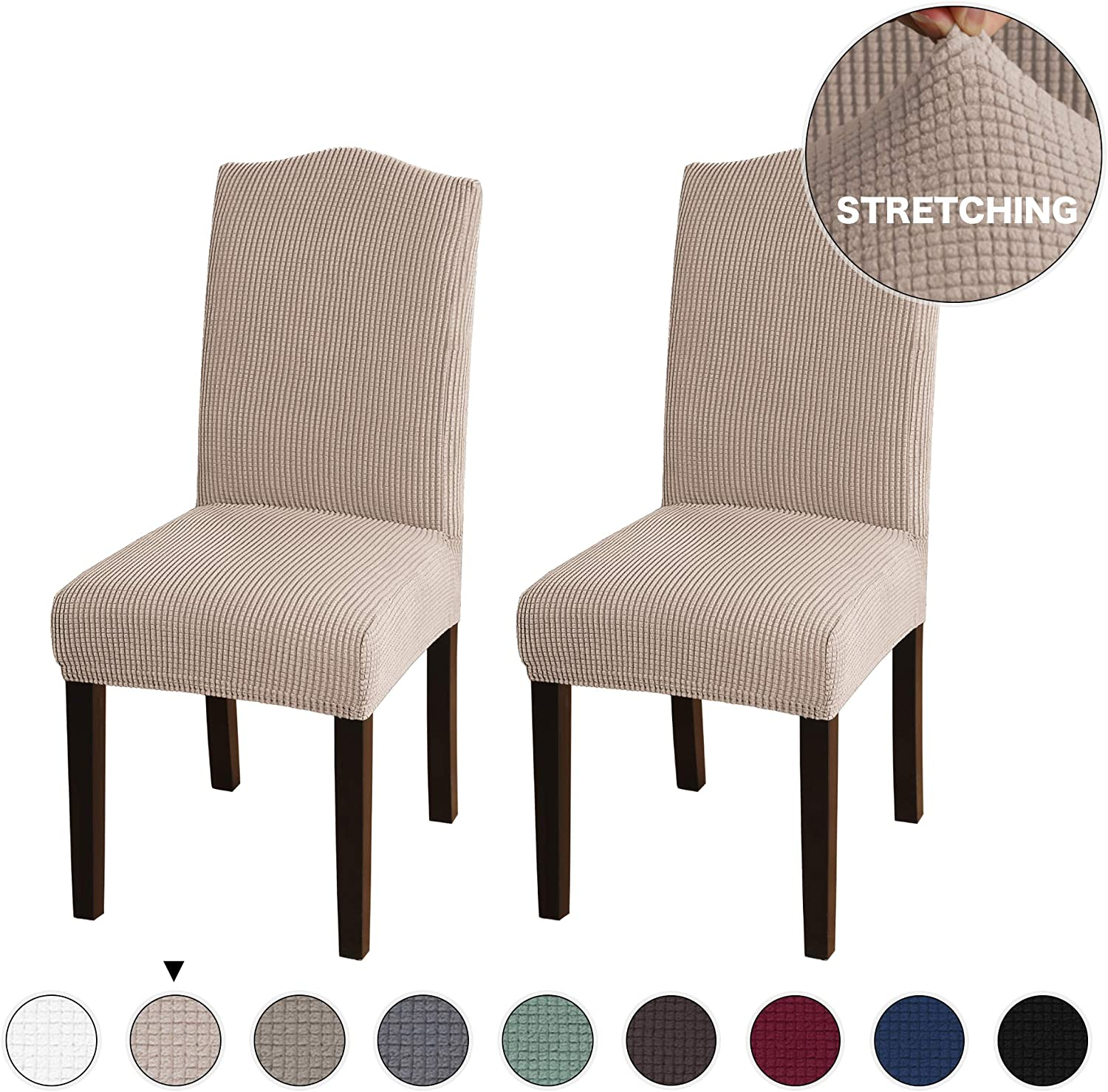 Turquoize Super Fit Stretch Removable Washable Dining Chair Protector Cover for Hotel, Dining Room, Ceremony, Banquet Wedding Party Modern Stretch Chair Covers, Set of 2, Khaki