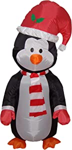 4 Foot Christmas Inflatable Cute Standing Penguin Yard Decoration LED Lights Decor Outdoor Indoor Holiday Decorations, Blow up Lighted Yard Decor, Lawn Inflatables Home Family Outside