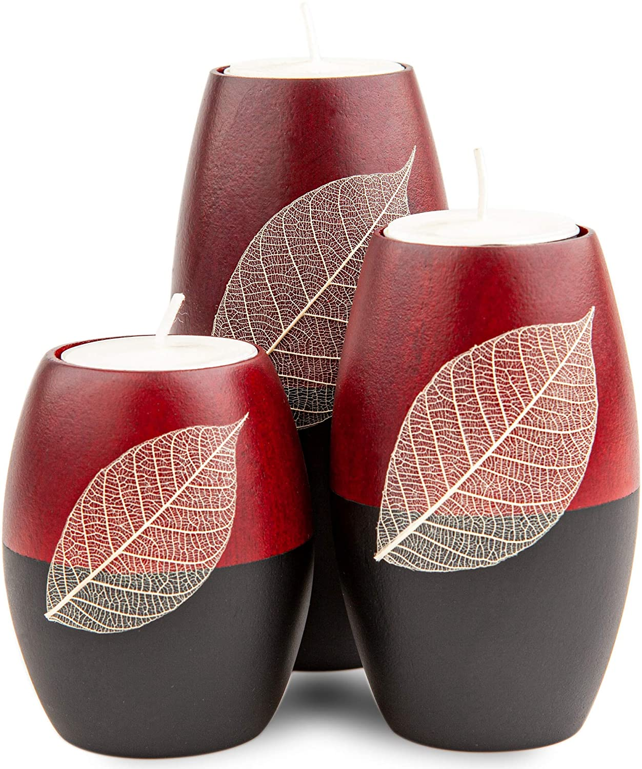 IYARA CRAFT 3 Wooden Candle Holders Decorative Candle Holders with Beauty Decor Dry Leaf – Intricate Details – Matte Wood Finish – Ideal for Modern & Rustic Settings 2 Tones, red, Black (Rugby Shape)