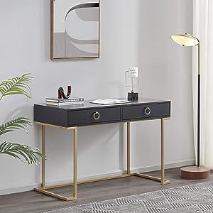 BELLEZE Modern Home Office Computer Desk, Matt Black with Gold Leg, Makeup Vanity Console Table