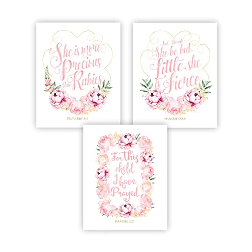 amazon com baby girl pink floral nursery decor bible quotes set of