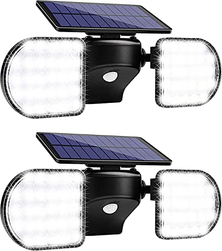 Solar Flood Lights Outdoor, Wireless 56 Led Security Lights, 360 Adjustable Dual Head Spotlights for Yard, Garden, Patio, Garage, and Driveway 2 Pack