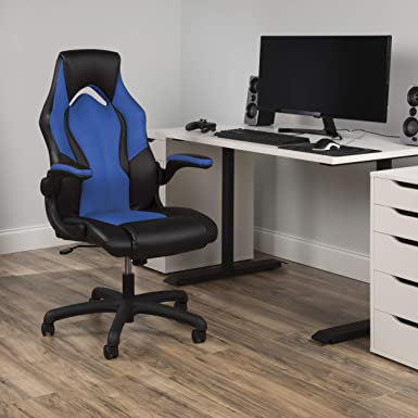 Essentials Racing Style Leather Gaming Chair – Ergonomic Swivel Computer, Office or Gaming Chair, Blue ESS-3086-BLU