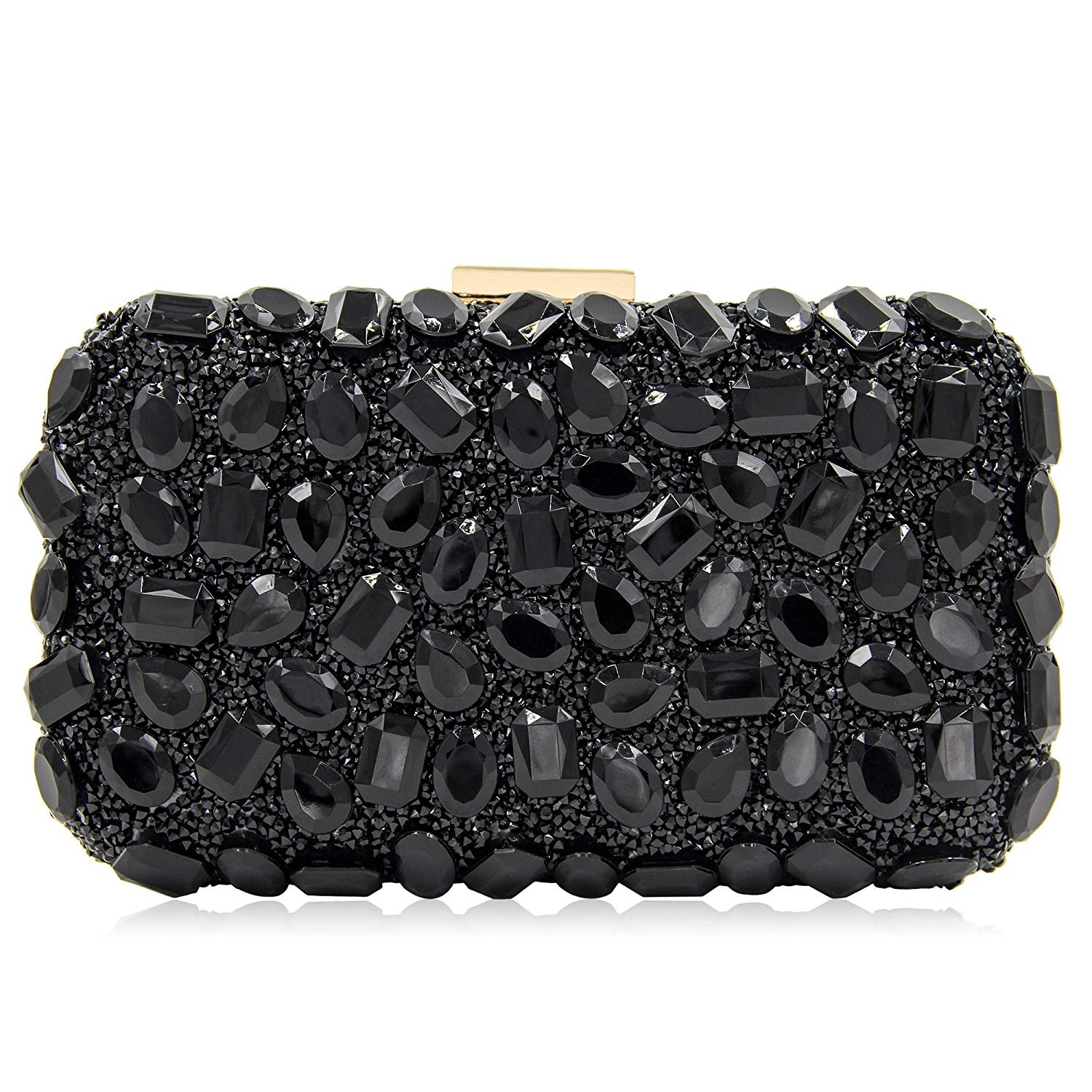 Stunning Rhinestone Party Clutches Cocktail Crossbody Evening Bags For Women Clutch Purse Handbag (Black)
