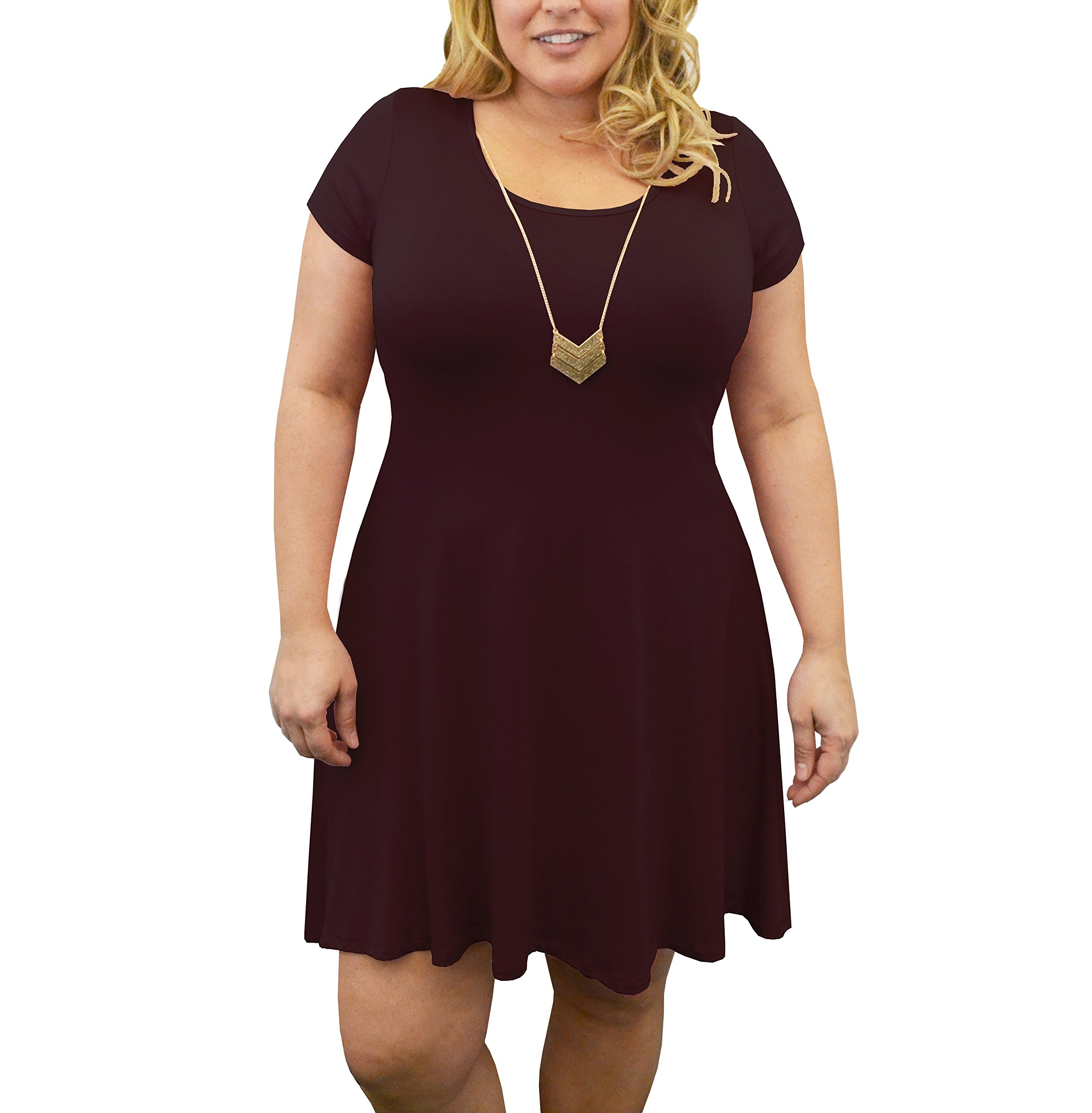 Urban Rose Womens Dress with Necklace – Plus-Size, Short Sleeve, Trapeze Style