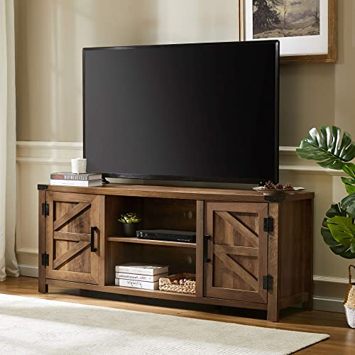 WAMPAT Farmhouse Barn Door TV Stand Wood Media Console Storage Cabinet