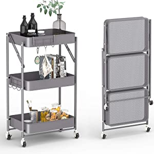 KINGRACK 3-Tier Free Installation Rolling Cart, Instant Use Foldable Metal Storage Push Cart, Utility Trolley Organizer with Extra Hooks for Kitchen, Home, Bedroom, Nursery, Grey