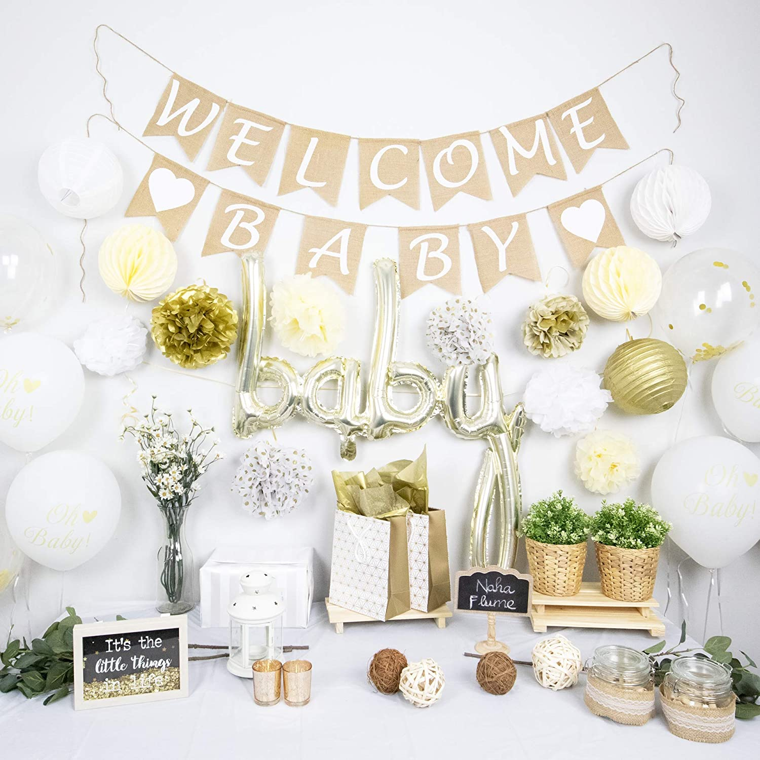 Amazon Com Naha Flume Rustic Baby Shower Decorations Neutral 40pc Set Burlap Welcome Baby Banner Gold Baby Shower Decorations Gender Neutral Oh Baby Shower Decor Gender Neutral Baby Shower