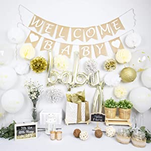 NAHA FLUME Rustic Baby Shower Decorations Neutral   40pc Set Burlap Welcome Baby Banner   Gold Baby Shower Decorations Gender Neutral   Oh Baby Shower Decor   Gender Neutral Baby Shower Decorations