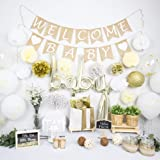 NAHA FLUME Rustic Baby Shower Decorations Neutral   40pc Set Burlap Welcome Baby Banner   Gold Baby Shower Decorations…
