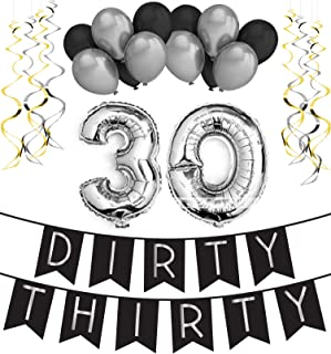 Dirty Thirty - 30th Birthday Party Pack u2013 Black u0026 Silver Happy  sc 1 st  Amazon.com & Amazon.com: KATCHON 031 Party Decorations Kit-Happy Birthday Banner ...