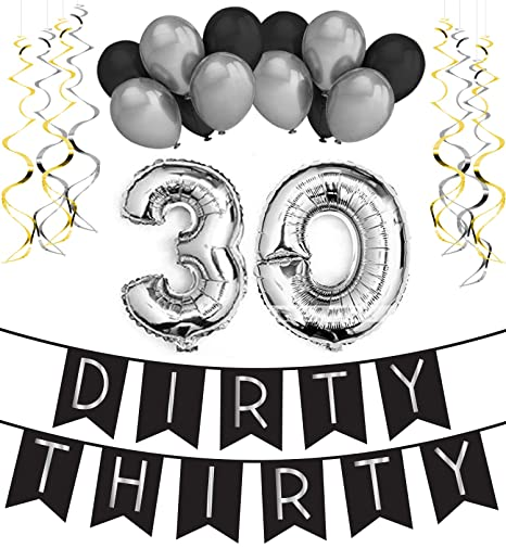 Dirty Thirty - 30th Birthday Party Pack u2013 Black u0026 Silver Happy  sc 1 st  Amazon.com & Amazon.com: Sterling James Co. Dirty Thirty - 30th Birthday Party ...