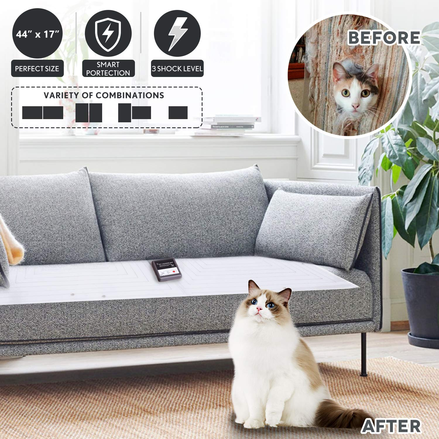 Upgraded Pet Scat Cat Mat,Pet Training Shock Mat for Dogs Cats Indoor Outdoor,Multi Pieces Adjustable Shape,Keep Dog Off Furniture Sofa Couch,Smart ...