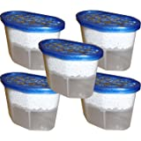 Pack of 5 x 500ml Interior Dehumidifiers with Fast Acting Crystals – Ideal for Use Around The Home, Office, Caravans and Small Spaces - Helps Prevent Damp, Mildew, Mould and Condensation