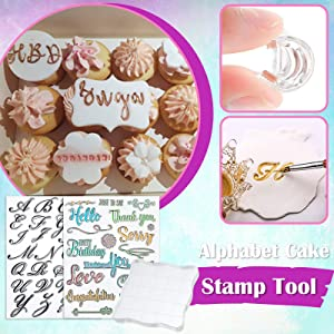 Alphabet Cake Stamp Tool, Food-Grade Alphabet Biscuit Fondant Cake Cookie Stamp Mold Set, Reusable Unique Letter Shaped DIY Cookie Biscuit (2pcs Stamp Tool+1 Stamping Board)