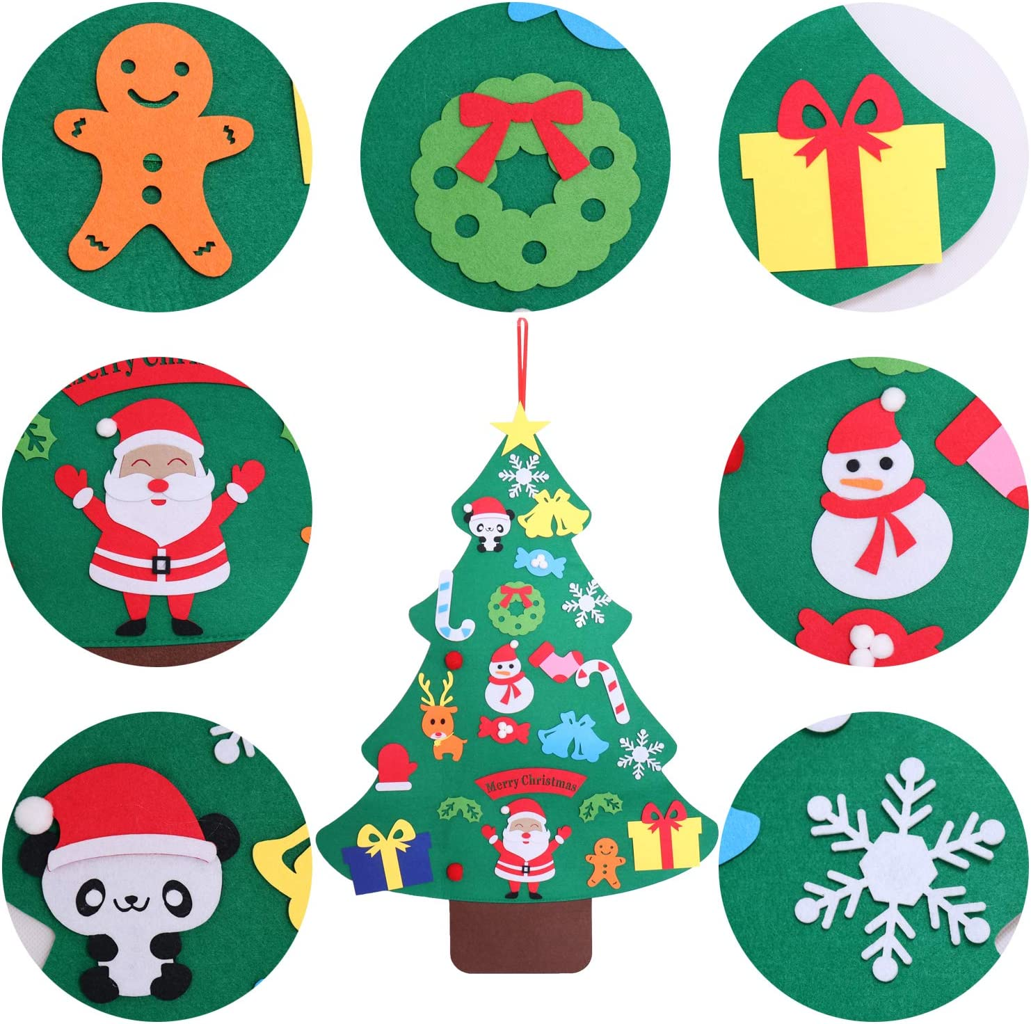 LOCOLO Felt Christmas Tree 39.4 Inch DIY Christmas Tree with 25 Pcs Ornaments Kids Toddlers Wall Decor Xmas Gifts Christmas Home Door Wall Hanging Decoration