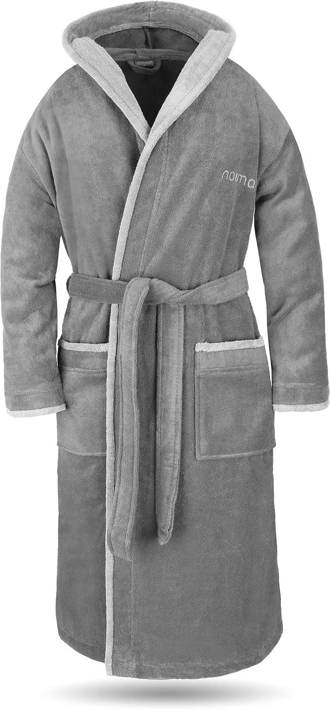 normani® Baumwoll Bademantel mit Kapuze in weicher Premium Qualität mit Öko Tex 100 für Damen und Herren