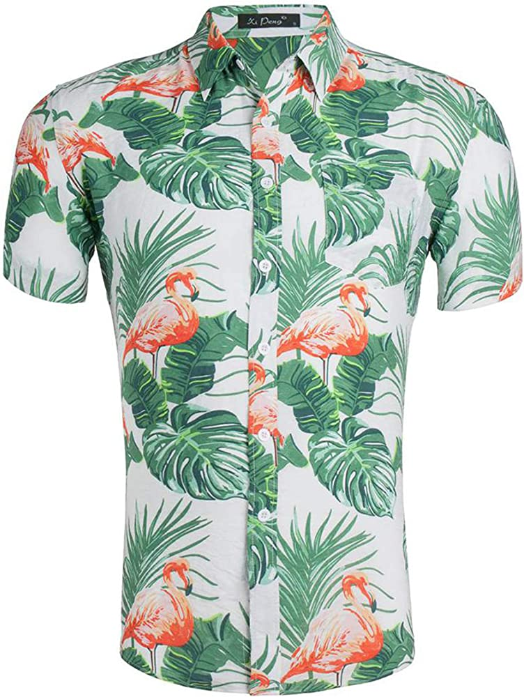 Loveternal Camisa Hawaiana Hombres Botón Abajo Camisa Flamenco Amarilla Algodón de Manga Corta Camisa Estampada 3D Vacaciones Hawaii Shirt M: Amazon.es: Ropa y accesorios