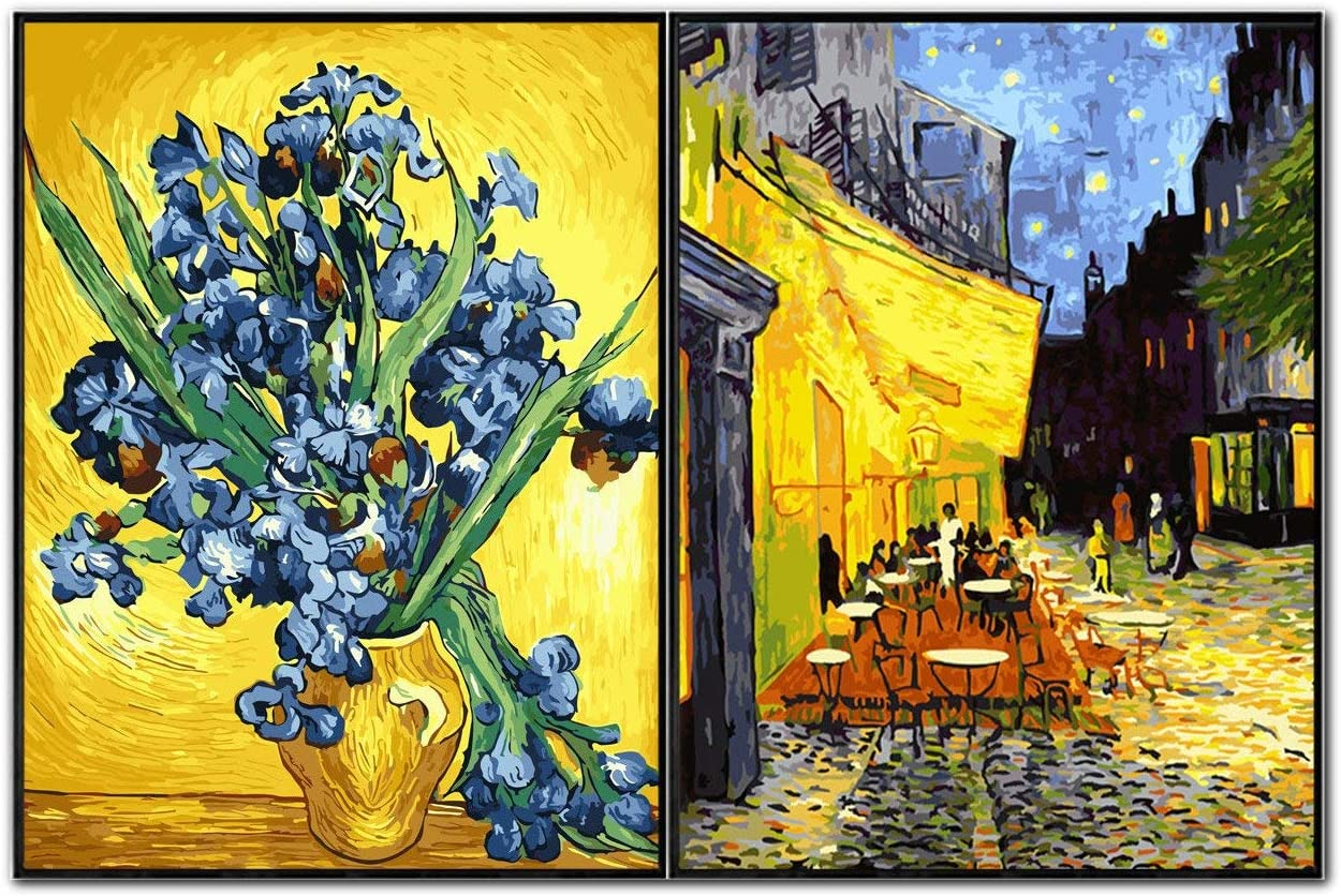 Starry Night Dream Sky 16 X 20 inch Linen Canvas Kits DIY Oil Painting Paint by Numbers Kits New Paint by Numbers DIY Oil Painting Kits for Adults Beginner Kids Blue, Without Frame
