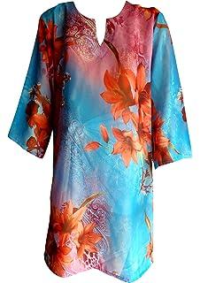 00eba83591 SUNROSE Hot Black Floral Printed Short Beach Kurta Cover Up Tunic ...