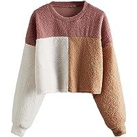 SweatyRocks Women's Long Sleeve Color Block Faux Fur Crop Tops Sweatshirt