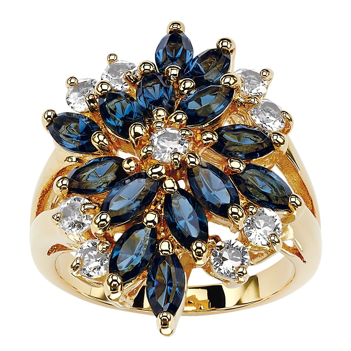 Palm Beach Jewelry 18K Gold-Plated Marquise Cut Blue Floral Ring Made Swarovski Elements Size 8