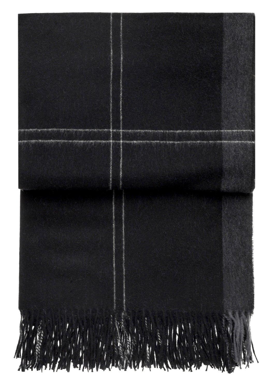 ELVANG  Leichte schwarze Alpaka Wolldecke mit hellen Karostreifen, 130x200cm