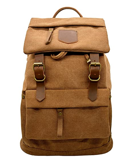 cbc814cc6852 Smart ZZ Canvas Vintage Leather Backpack - Unisex Casual Travel Rucksack  Satchel