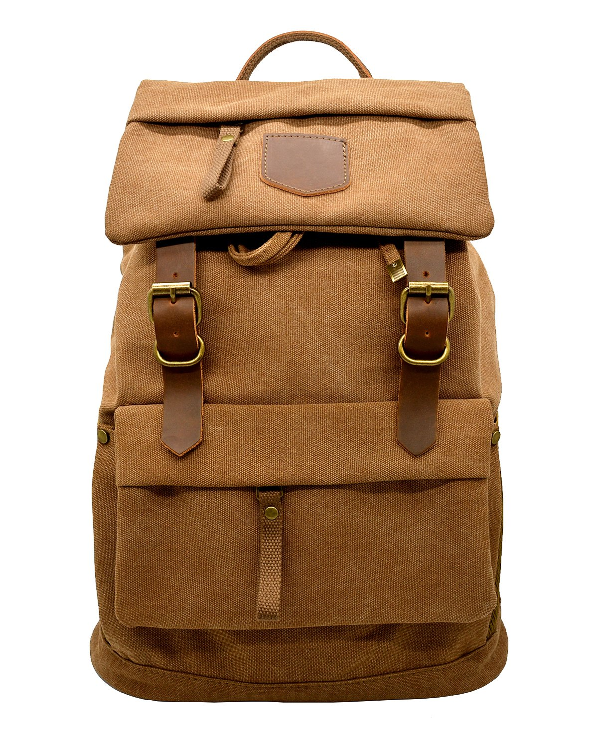 Canvas Vintage Leather Backpack - Unisex Casual Travel Rucksack Satchel, Larger Multipurpose Hiking Daypack, Outdoor Climbing Mountaineering Bag for Men and Women