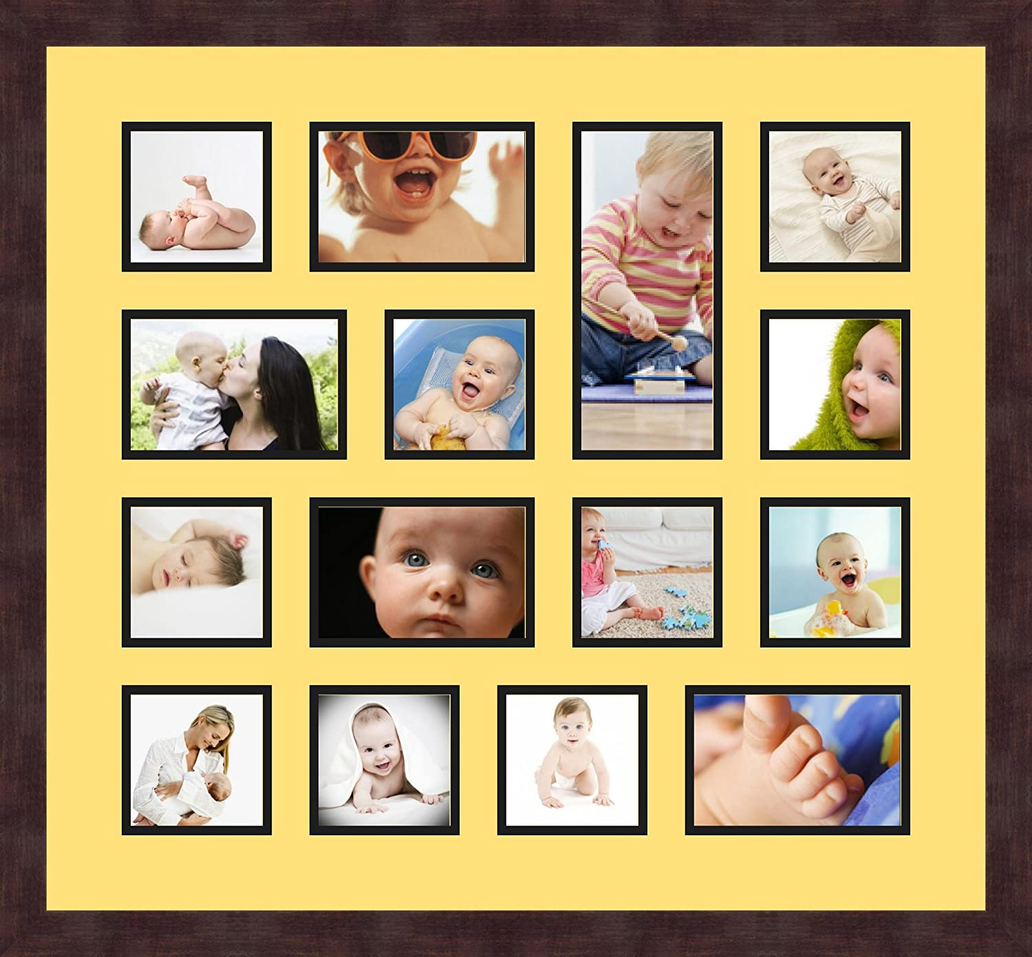 Art to Frames Double-Multimat-762-47R//89-FRBW26061 Collage Frame Photo Mat Double Mat with 10-4x4 and 4-4x6 and 1-4x9 Openings and Espresso Frame