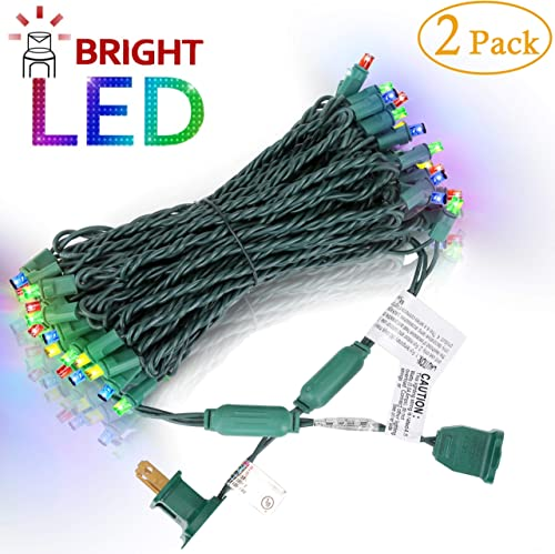 AIDDOMM LED Christmas Lights 50 Counts, for Outdoor and Indoor, Commercial Grade, Multi Colored Light, Green Wire, 25ft, UL Listed, 2 Pack