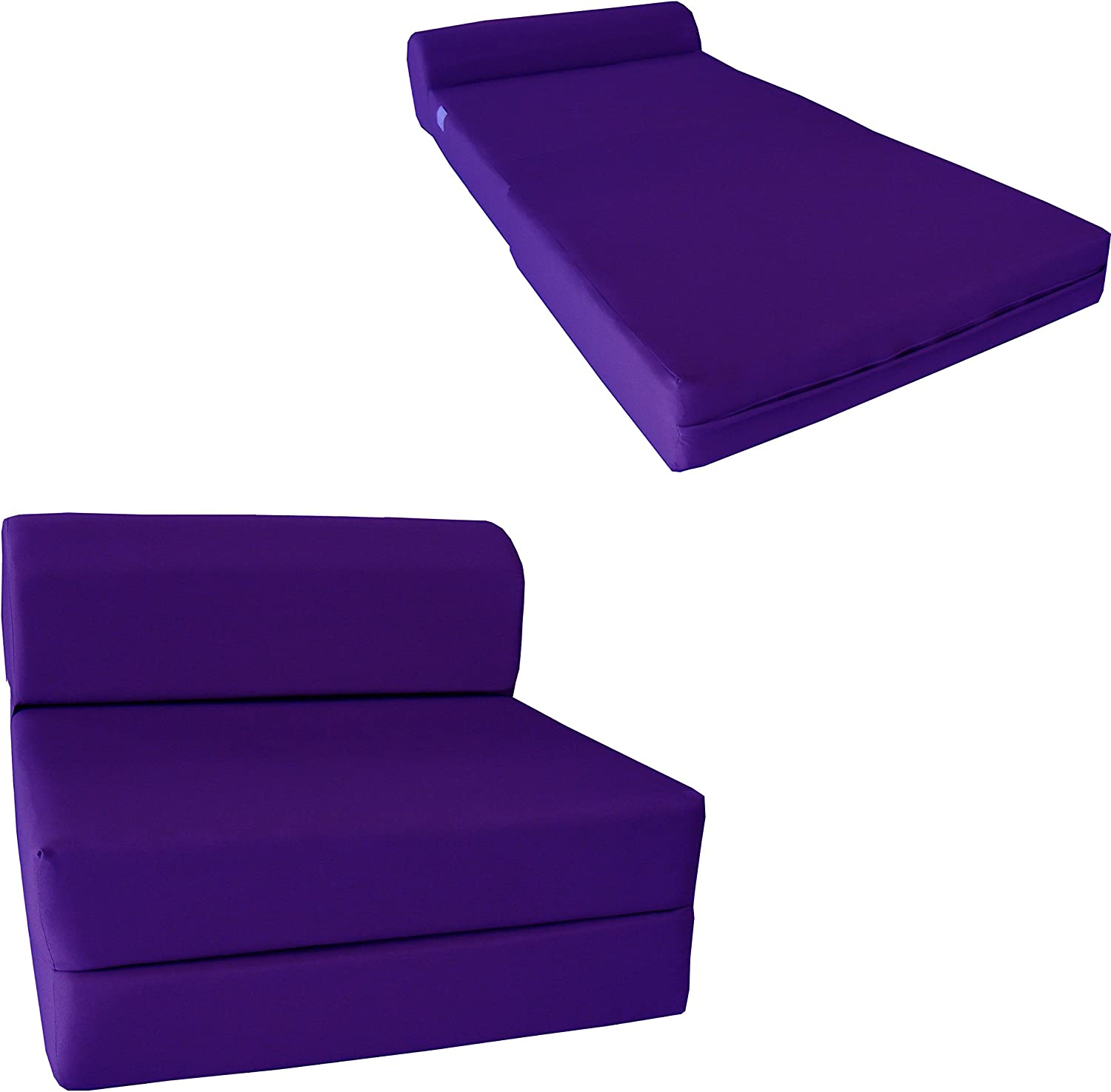 D&D Futon Furniture Purple Sleeper Chair Folding Foam Bed Sized 6