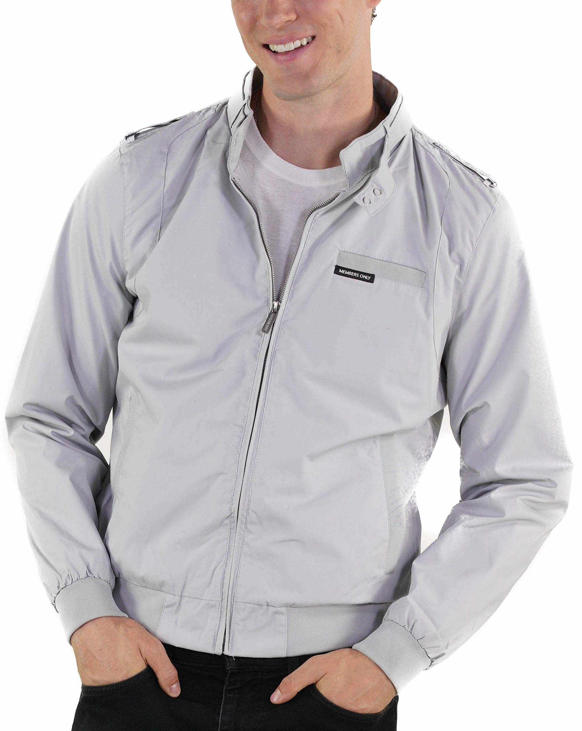 Members Only Men's Original Iconic Racer Jacket, Light Grey, Extra Large by Members Only