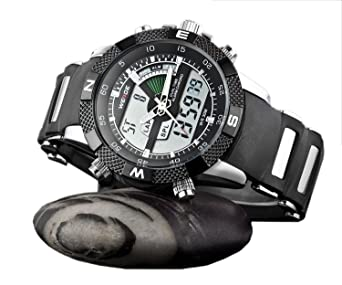 Amazon.com: Mens Sport Watch Dual Time Alarm Chronograph Analog Digital LCD Black Markers WH-172: Watches